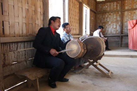 Members of Mizoram UPC singing to the beat of the drums.