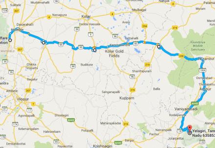 bangalore-yelagiri-route